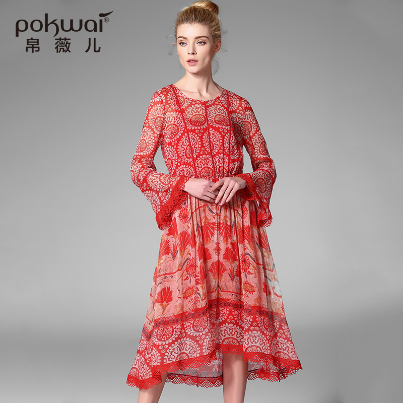 Здесь продается  POKWAI Long Casual Summer Silk Lace Dress Women 2017 New Arrival High Quality Fashion Flare Sleeve Hollow Out A-Line Dresses  Одежда и аксессуары
