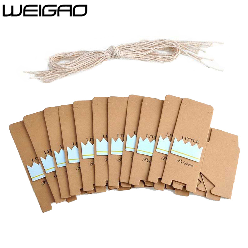 Image 2 - WEIGAO 20pcs/40pcs Kraft Paper Candy Box Baby Shower Gifts For Guests Birthday Party Babyshower Boy Girl Gift Bag Party Supplies-in Gift Bags & Wrapping Supplies from Home & Garden