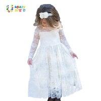 女の子レースロングドレス花用年齢2-12赤ちゃん子供プリンセスフォーマル結婚式ウエディングパーティードレスホワイト/クリーム大きな弓甘い