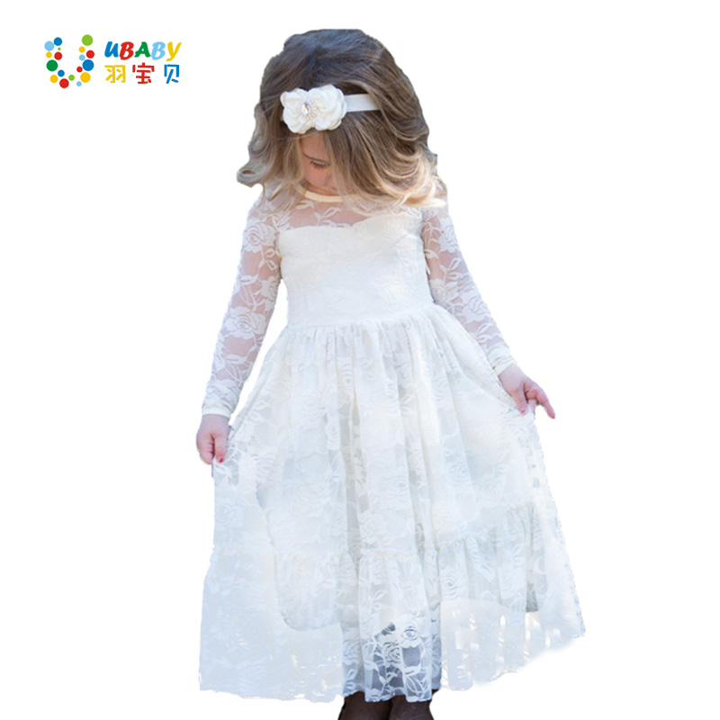Girl Lace Long Dress Flower For Age 2-12 Baby Kids Princess Formal Wedding Prom Party Dress White/Cream Big Bow Sweet Clothing