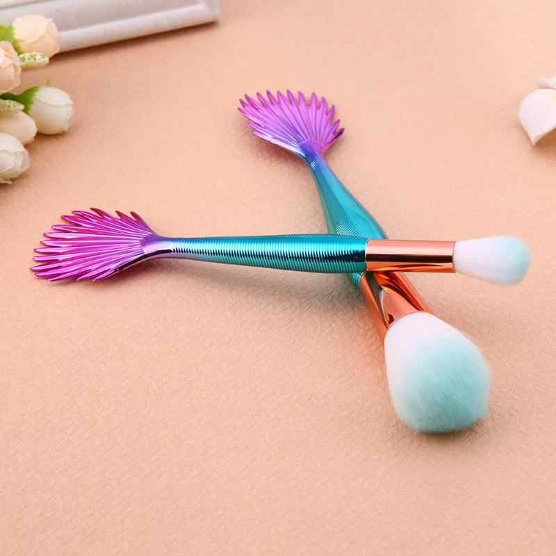 Blue Mermaid Up Kwasten Set Multifunctionele Vis Schaal Fishtail Make up Brush Tool Contour Blending Cosmetische Borstels