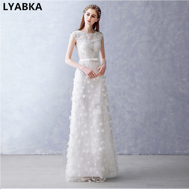 Vintage Sheath Wedding Dress Vestido De Noiva 2017 Y Scoop Liques Beaded Dresses Robe