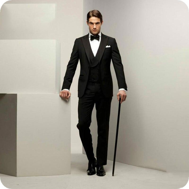 Italian Black Men Suits For Wedding Suits Bridegroom Slim Fit Formal Prom Custom Blazer Tuxedos Best Man Costume Homme 3Pieces