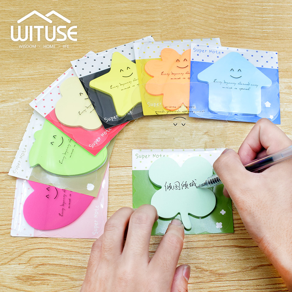 WITUSE 4Pcs Multicolor Sticky Notes Cute Office Love Memo Pads Sticker Post It Bookmark Marker Flags Sticker Planner Briefpapier