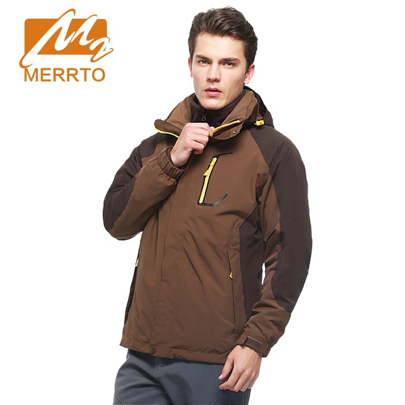 MERRTO Windproof Men's Jackets Waterproof  Coats Male Slim High Collar 2 Pieces Jacket Men Outdoor Overcoat#19016