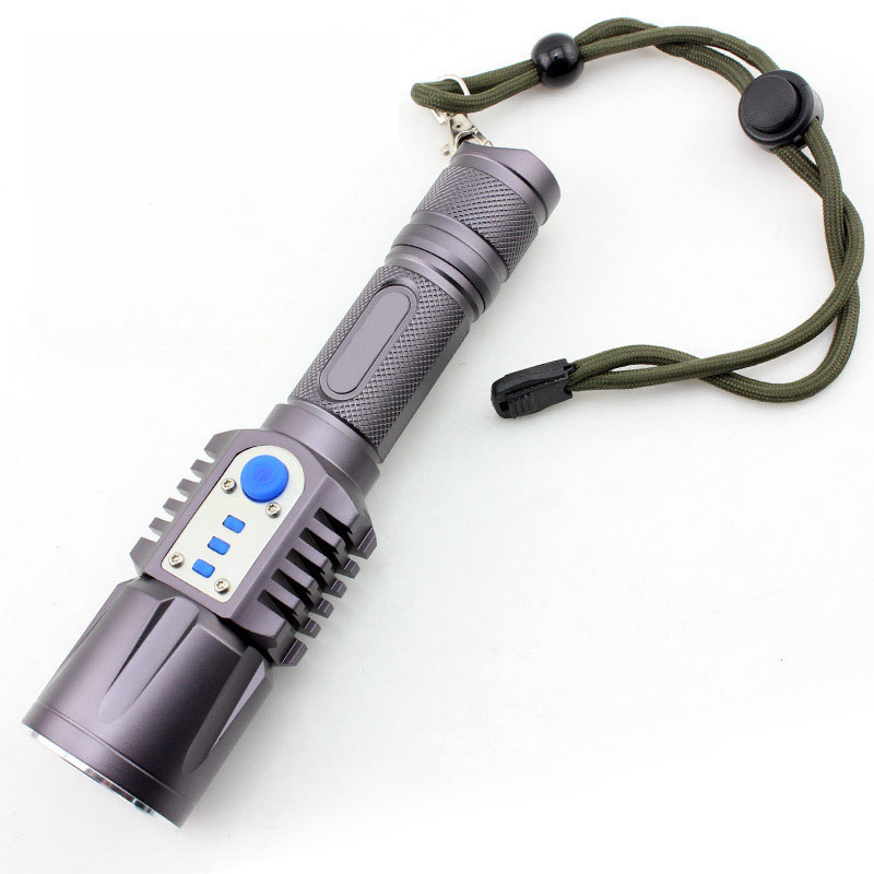 Portable LED Flashlight Multi-functional Emergency Self Defense Flashlight With USB Charging Output Power Home Car Safety Tool