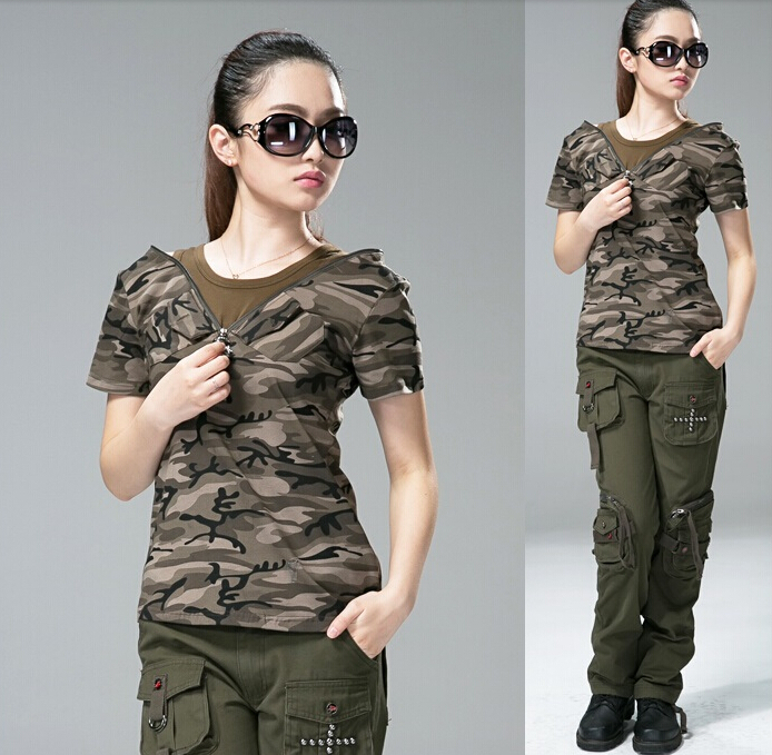 cfdae13fd741 Women Tees Camouflage Outdoor Clothing Women T-Shirt Short Sleeve Army fans T  Shirts Slim Women Cotton T Shirts