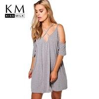 Kissmilk 2018 Plus Size Mulheres Roupas Da Moda Casual Suave Cruzado Vestidos de Frio-ombro Breves As Mulheres Se Vestem Tamanho Grande 3XL-7XL
