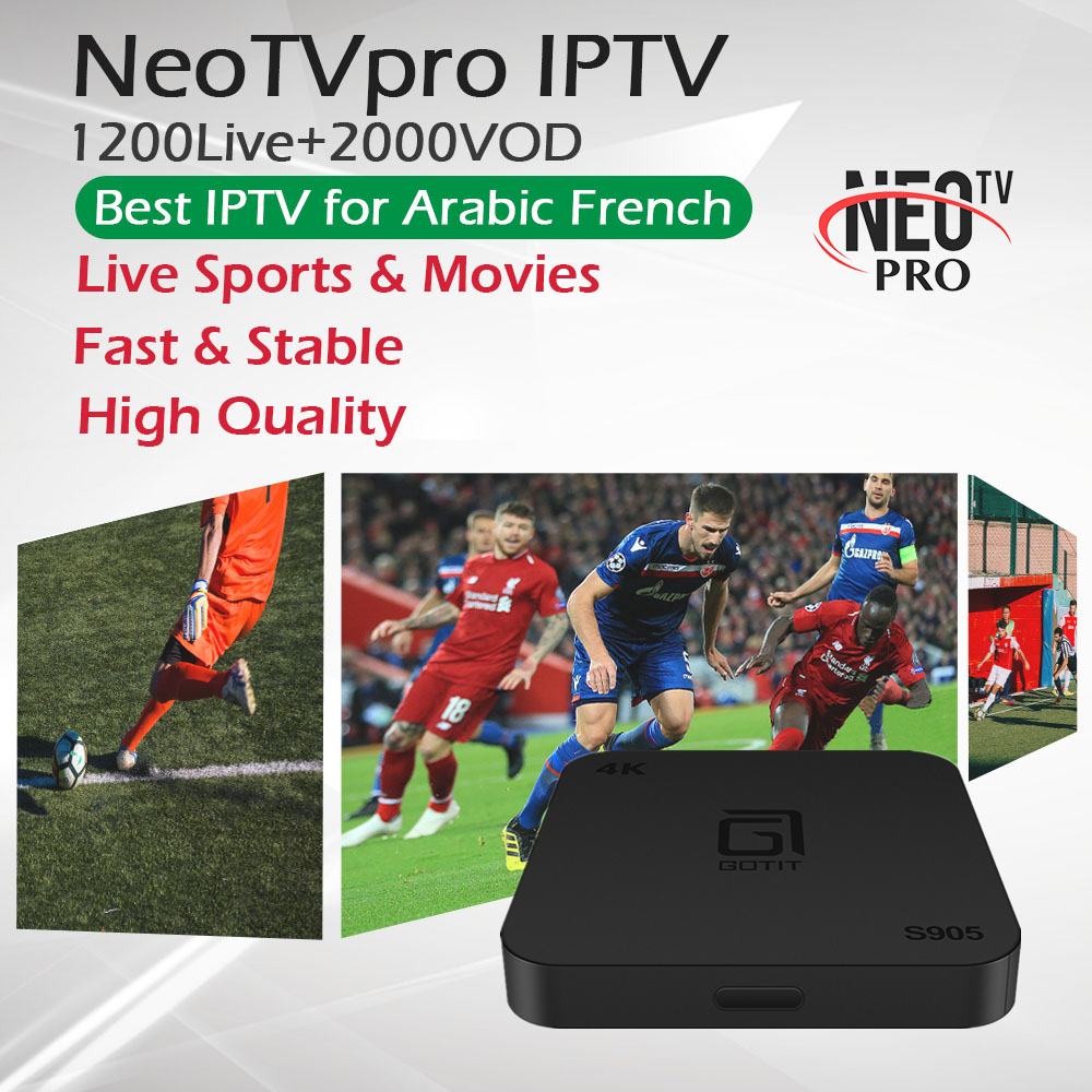 GOTiT S905 Android 7 1 TV Box French Arabic Europe IPTV Subscription NeoTVPro 1300Live VOD Media
