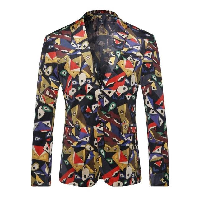 Europe and the United States men's wear in autumn 2016The new winter Long sleeve fashion retro geometric printing velvet jackets