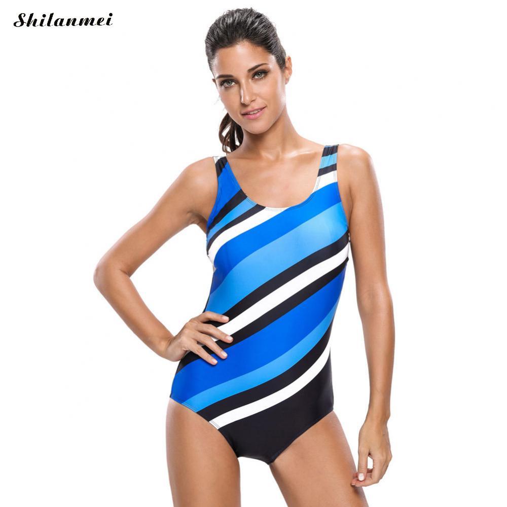 2019 New Swimming Suit for Women One Piece Swimsuit Sports Bathing Suit Slim Female Patchwork Swimwear Bodysuits Trikini