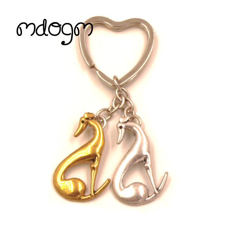 2018 New Cute Greyhound Dog Animal Gold Silver Plated Metal Pendant Keychain For Bag Car Women Men Key Ring Love Jewelry K140