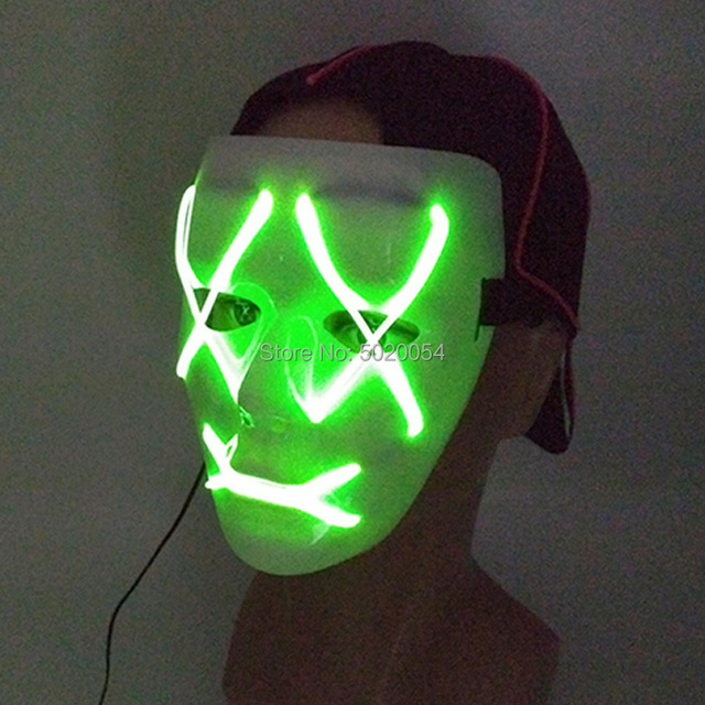 GZYUCHAO EL Costume Props LED Light Glowing Mask Halloween Clown Horror EL Mask for Scary Theme Party Halloween Decoration