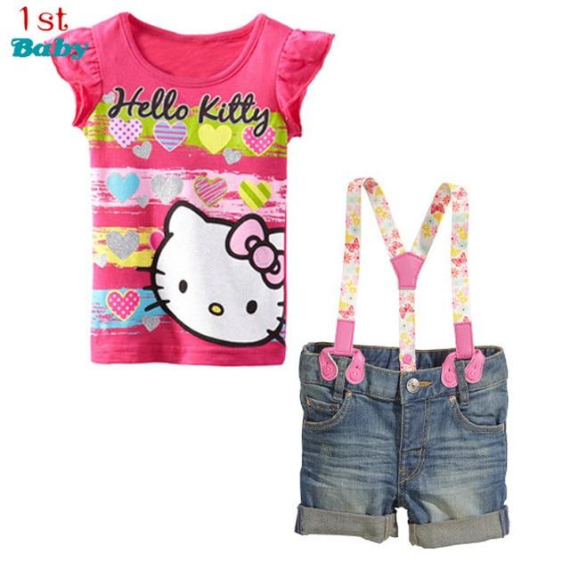 Baby Girl's clothing summer sets Children's clothing sets Hello Kitty cartoon t-shirt +suspenders denim shorts set children sets