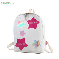 MIWIND Simple Canvas Backpack Students Backpack For Women Rucksack Star Printed Women Backpack School Teenagers Bookbag