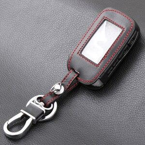 Image 4 - E60 E90 Leather Key Fob Cover Cases For StarLine E60 E90 E63 E93 E95 E66 E96 LCD Remote Controller KeyChain Transmitter