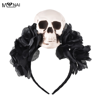 Costumes Gothic Lolita Rose Skull Asymmetry KC Headband Hair Accessories Party Cos Handmade Unique Headdress Steampunk