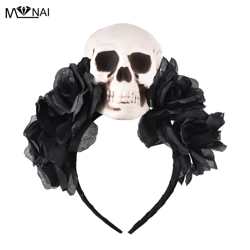 Disfraces Gothic Lolita Rose Skull Asimetría KC Diadema Accesorios - Disfraces