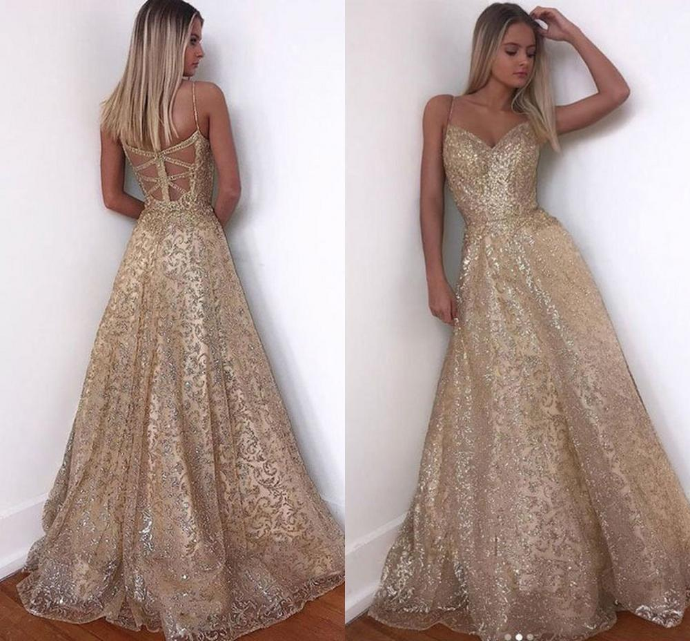 Evening     Dress   Long Sparkle 2019 New V-Neck Women Elegant Straps Sequin A-line Maxi   Evening   Party Gown   Dress   abendkleider