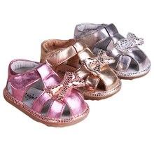 2017 bebé niño sandalias puntera que cubre las sandalias de cuero genuino suave suela zapatos sandalias de los niños sandalias de las muchachas