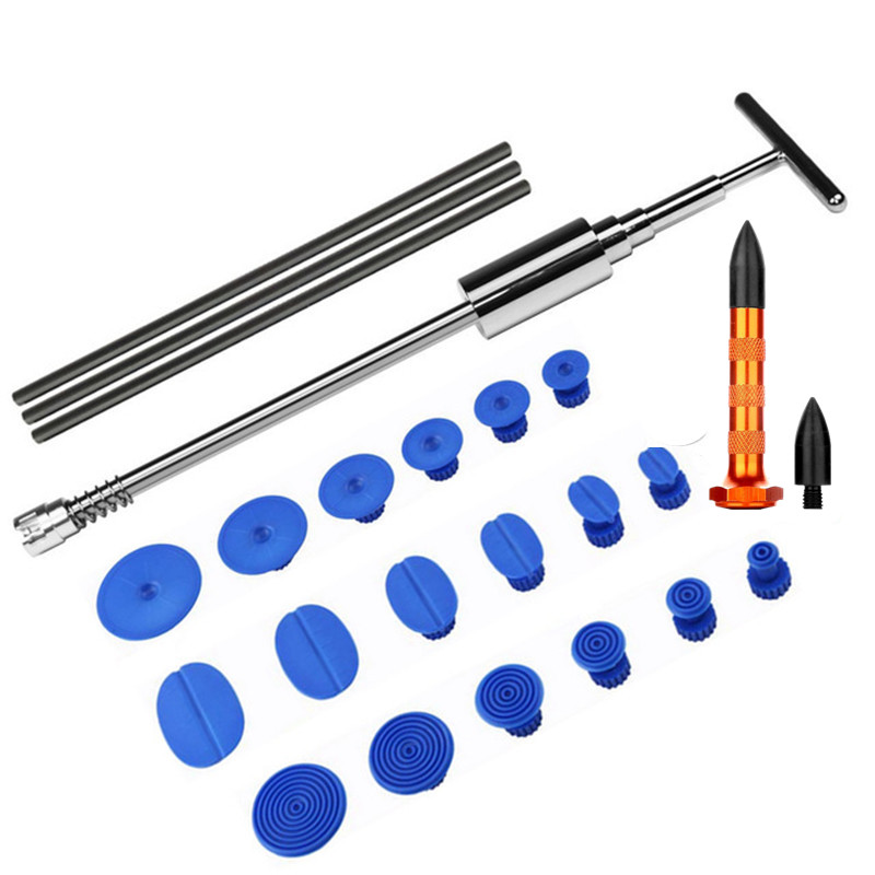 Paintless Dent Repair Tool Metal Plastic Auto Car Body T-Bar Slide Hammer Dent Repair Tool with 18pcs Glue Puller Tabs Tools KitPaintless Dent Repair Tool Metal Plastic Auto Car Body T-Bar Slide Hammer Dent Repair Tool with 18pcs Glue Puller Tabs Tools Kit
