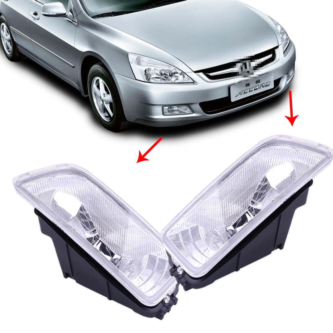 beler 1Pair 33951-SDA-H01 33901-SDA-H01 Front Left & Right Fog Light Lamp Cover Fit for Honda Accord 2003 2004 2005 2006 2007 one pair protective front left right bumper fog light lamp grille covers for a udi a8 s8 q uattro d3 2006 2007 2008
