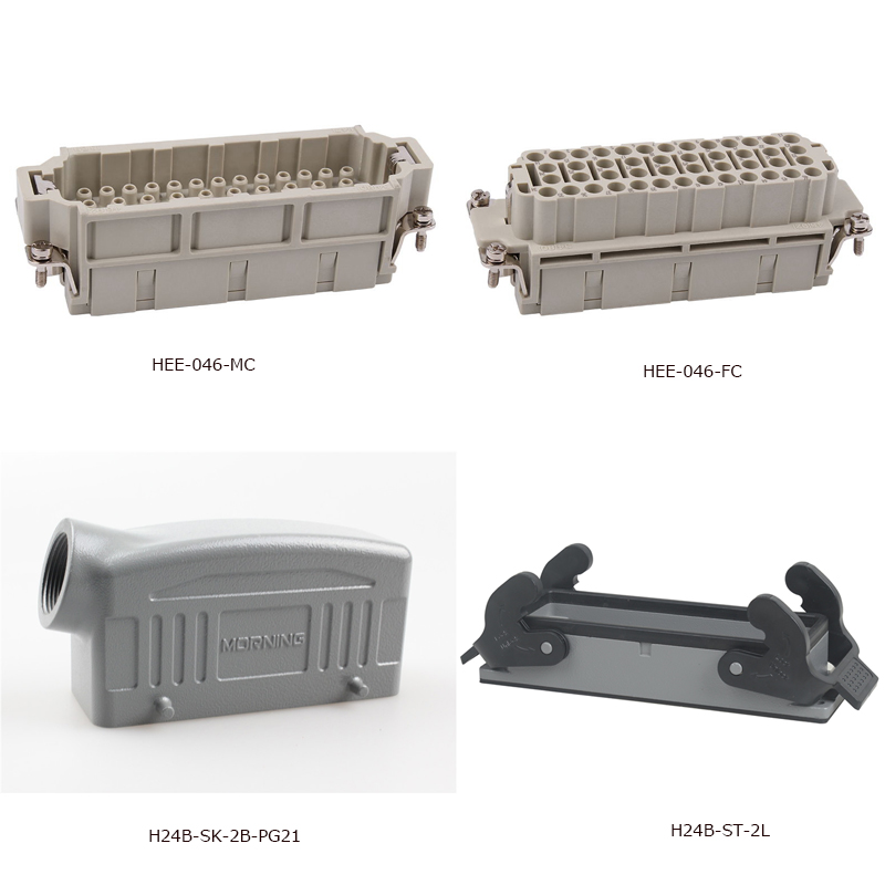 Whole set of HEE-046 Side Entry 46 pin car-styling Heavy Duty Connector from Wenzhou, industrial usage plug heavy duty connectors hdc he 024 1 f m 24pin industrial rectangular aviation connector plug 16a 500v