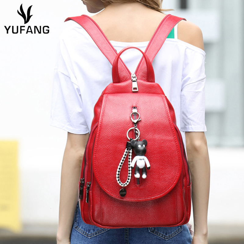 Yufang Casual Women Backpack Zipper Design Female Chest Daypack Genuine Leather Women Bag Candy Color Shoulder Bag Ladies