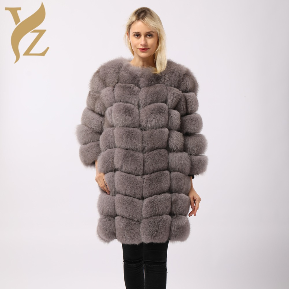 1a1c4c992bdc4 Long Furry Winter Coats Real Fur Coat Fox Fur Coats Women Designer Plus Size  Fox Fur Jacket Nature Furs Jackets Ladies All-match