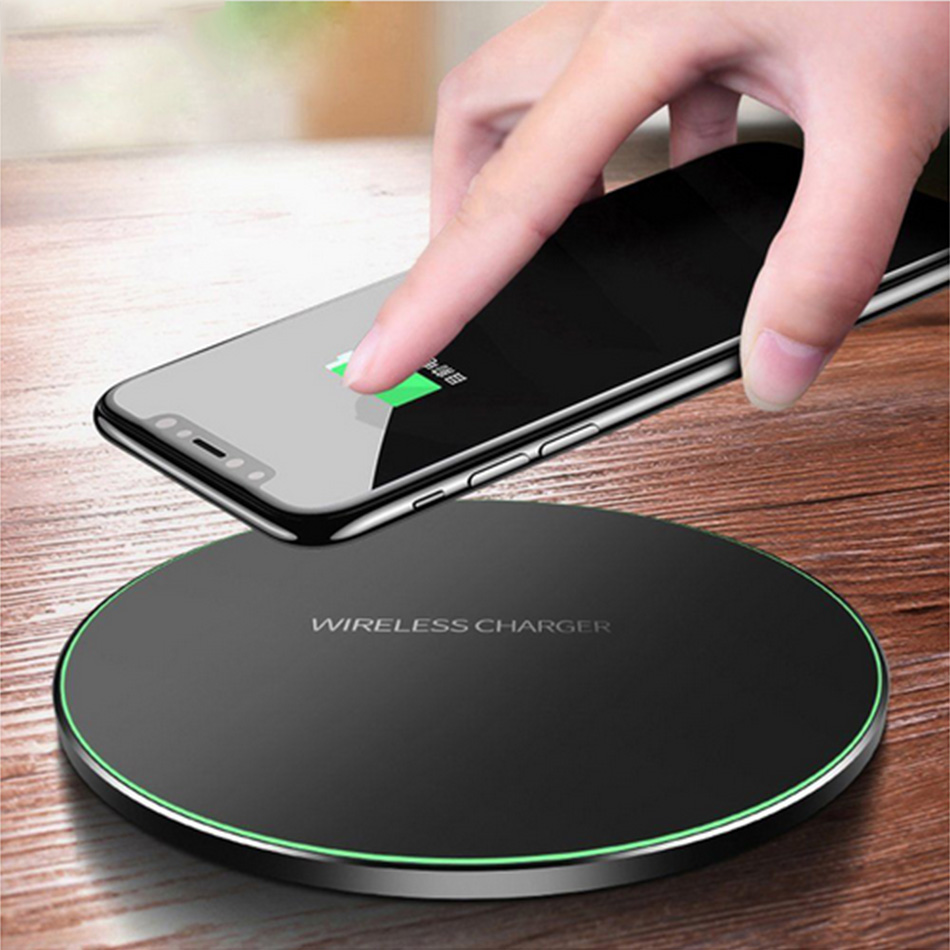 Qi Metal 10W Wireless Charger For IPhone 8 X XR XS Max QC3.0 Fast Wireless Charging For Samsung S10 S9 Note 8 9 USB Charger Pad