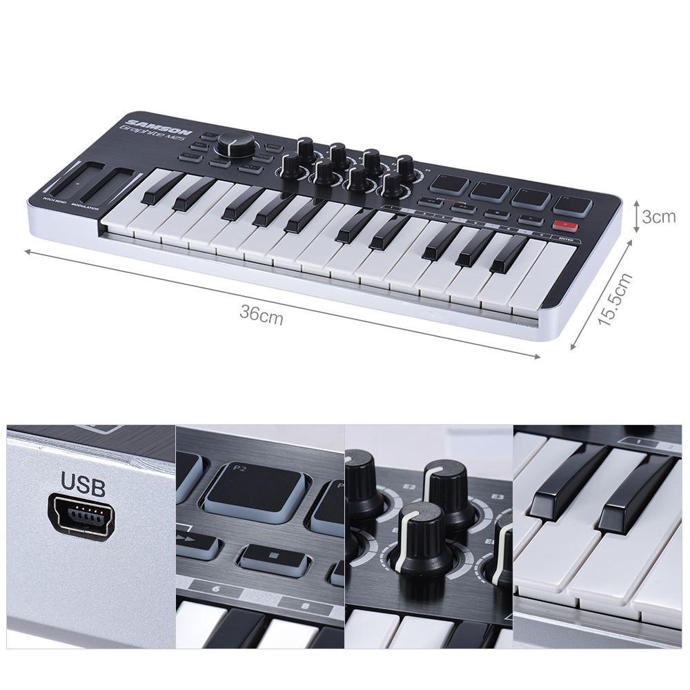 Prix pour Graphite M25 Ultra-Portable Mini 25-Key USB MIDI Clavier Contrôleur avec USB Câble (4 Plaquettes/8 Assignable boutons)
