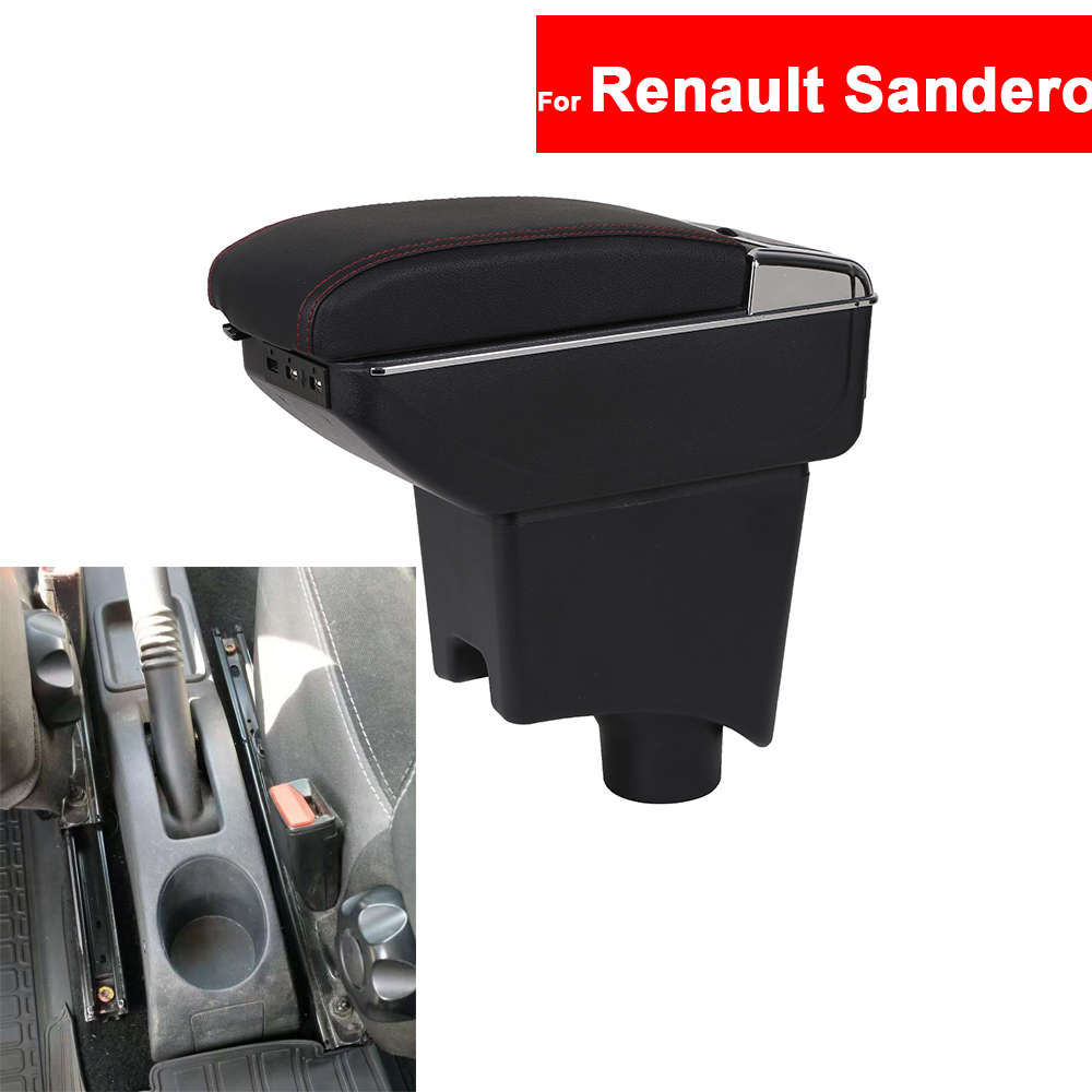 For Renault Sandero Car Center Console Storage Central Box Armrest Arm Rest Rotatable Auto Armrests with