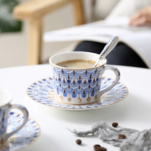 Bone China coffee tea cup Golden rim Ceramic Coffee Cup European Saucer Set British Afternoon Tea send spoon