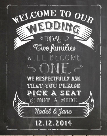 Custom Chalkboard Wedding Welcome Sign And Pick A Seat Printable