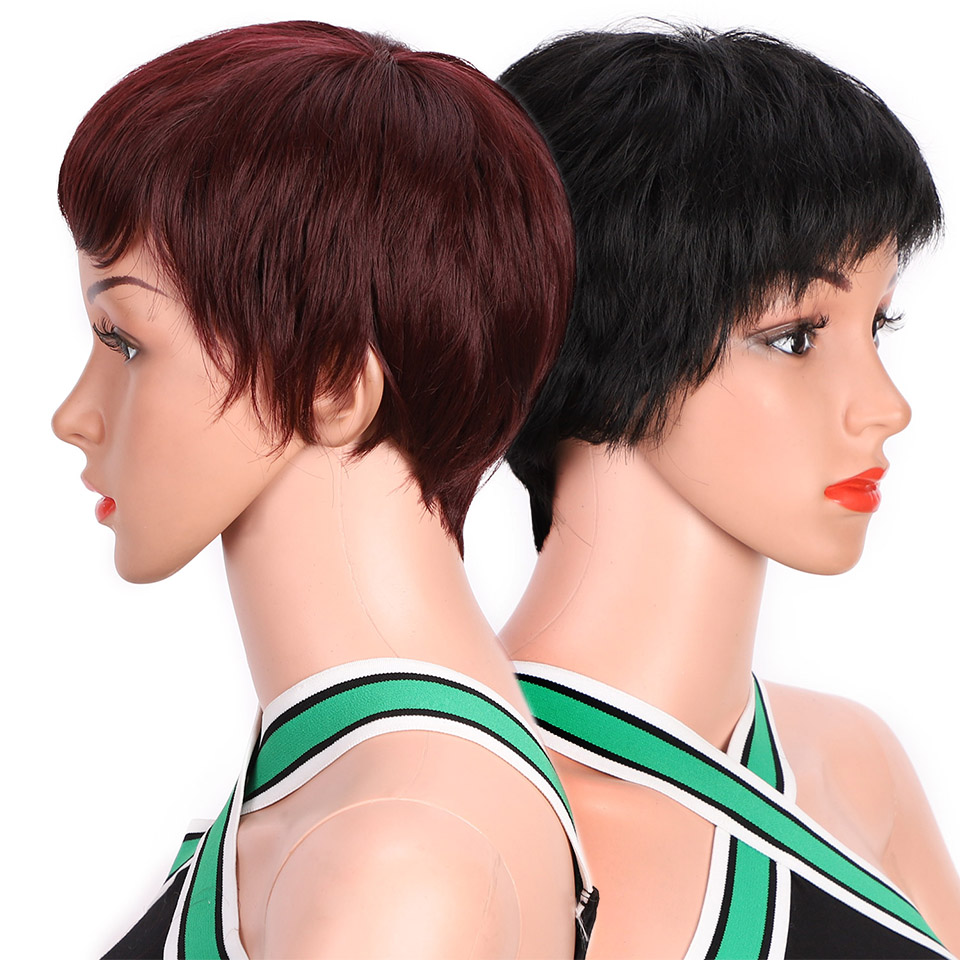 AISI BEAUTY Short Black Wigs for Women Natural Synthetic Red Pixie Cut Wig Costume Cosplay Party Hair Wig Brown Heat Resistant