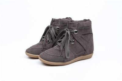 купить Classic Style Women Solid Color Suede Leather Round Toe Ankle Boots Autumn Ankle Lace Up 4.5 cm Heel Height Increasing Shoes онлайн