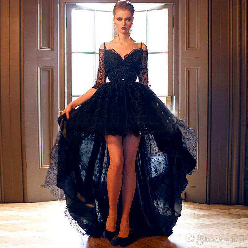 Open Back Sweetheart Beaded Lace Long Sleeve Navy Blue High Low Long   Prom     Dresses   2015 Customized Plus Size P8175