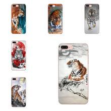 Pintura china Tigre híbrido suave llamada caja para Moto G G2 G3 G4 G5 G6 G7 HTC 530, 626, 628, 630, 816, 820 A9 M7 M8 M9 M10 E9 U11