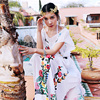 AIGYPTOS MAIXU Women Bohemia Flower Print Summer Half Sleeve Sides Slit Expansion Skirt Loose Plus Size