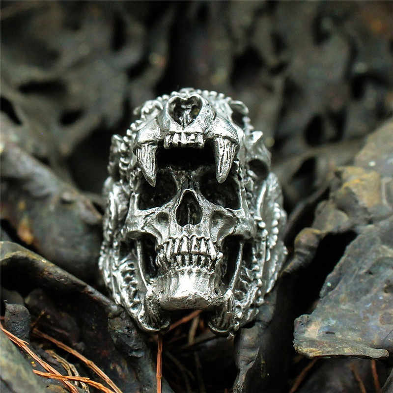 Cool Mens Boys Steel Biker Rings Vintage Indian Jaguar Warrior Skull Punk Jewelry Gift For Him Gothic Men's Skull Ring