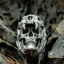 Cool Mens Boys Steel Biker Rings Vintage Indian Jaguar Warrior Skull Punk Jewelry Gift For Him Gothic Men's Skull Ring(China)