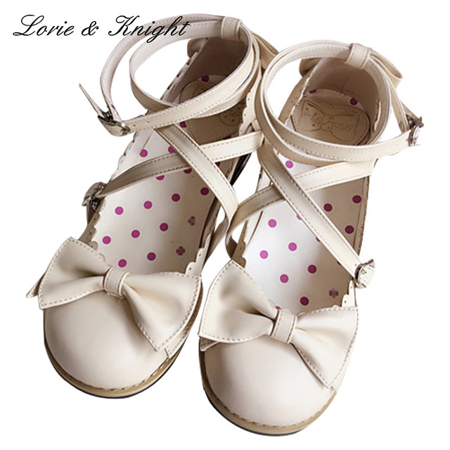 b06a0829c70e Japanese Harajuku Low Chunky Heels Sweet Round Toe Bowtie Princess Lolita  Shoes Kawaii School Girls Shoes