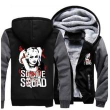 Warme Selbstmord Squad Harley Quinn Joker Cosplay Mantel Hoodie Unisex Winter Fleece Verdicken Jacke Sweatshirts
