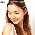 JINSE New Beach Multi Layer Metal Gold Plated Head Chain Hair Jewelry Tassel  Leaves Bohemian Hair Jewelry Party Wedding CR031