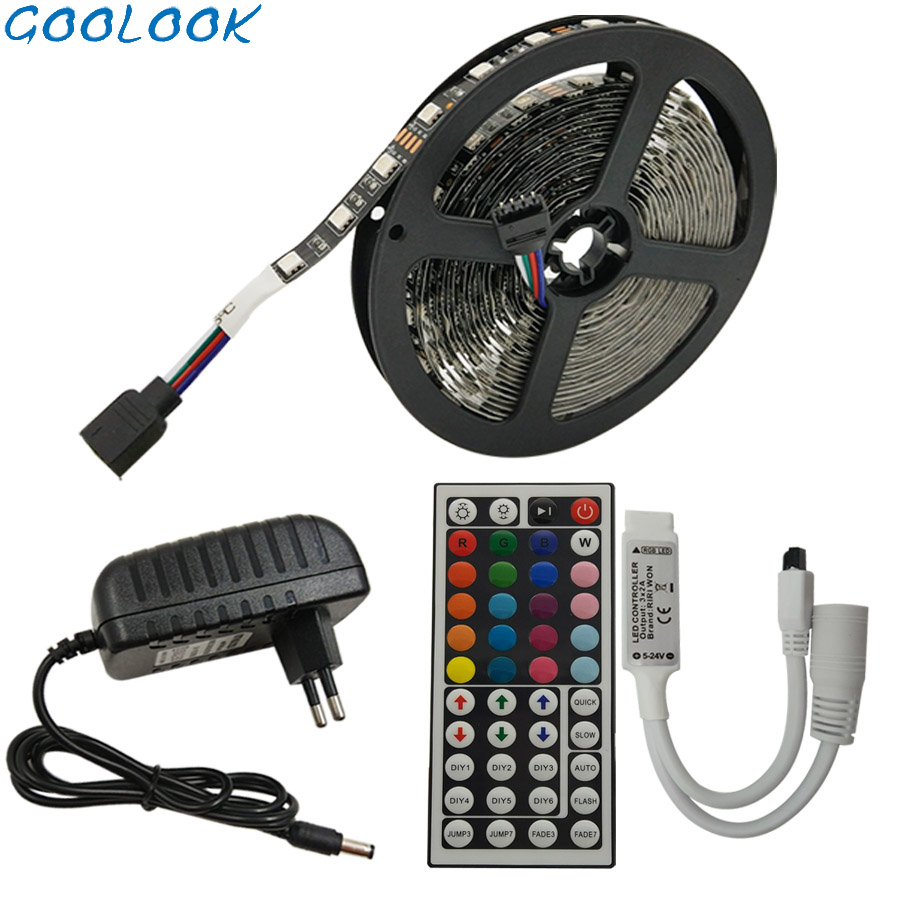 5M RGB LED Strip 5050 SMD DC 12v Tape Flexible Ribbon Non Waterproof With Remote LED Stripse Light  Controller Adapter Full Set