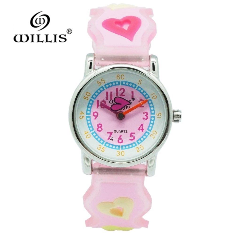 WILLIS New Fashion Heart Creative Watches Children Student Kids Girls Casual Quartz Lady Wristwatches Relojes Montres Kol Saati