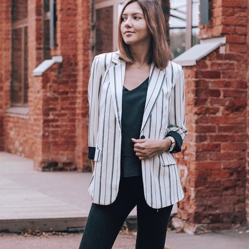 Women Striped Blazer Autumn Female Work Jacket Vintage High Quality Fashion Office lady Elegant Blazers Feminino Black White