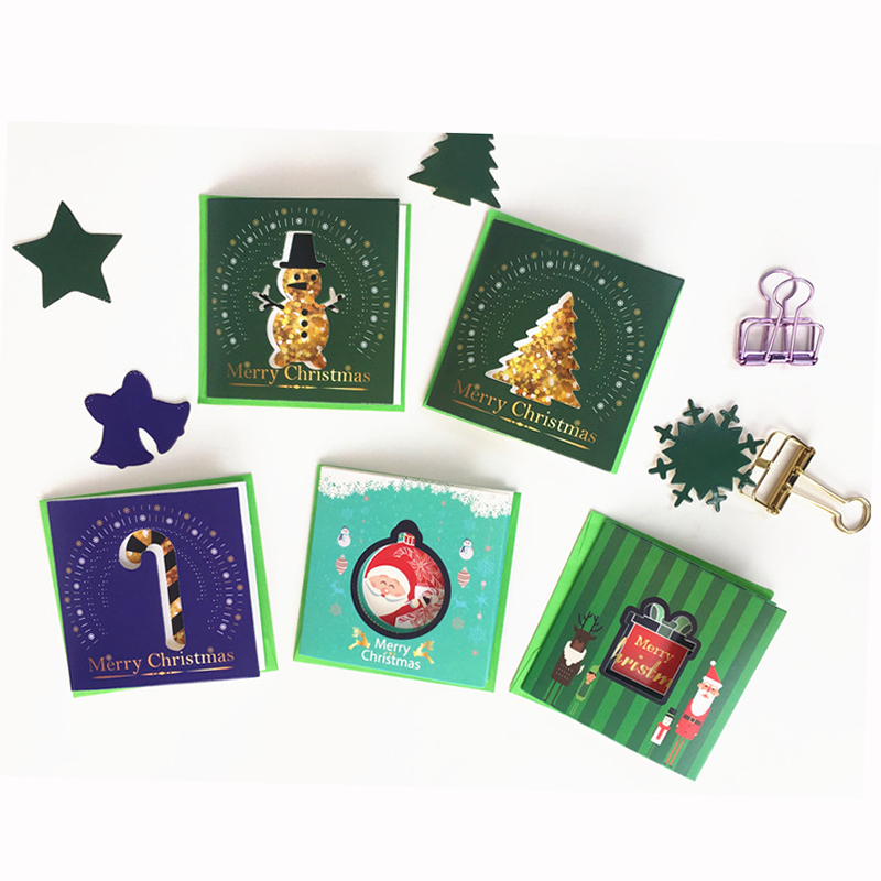 Glitter Christmas Cards.Us 5 89 5 Off 10 Designs Assoted Cutout Xmas Cards With Envelope Glitter Christmas Greeting Card New Year Greeting For Friends Children Lover In