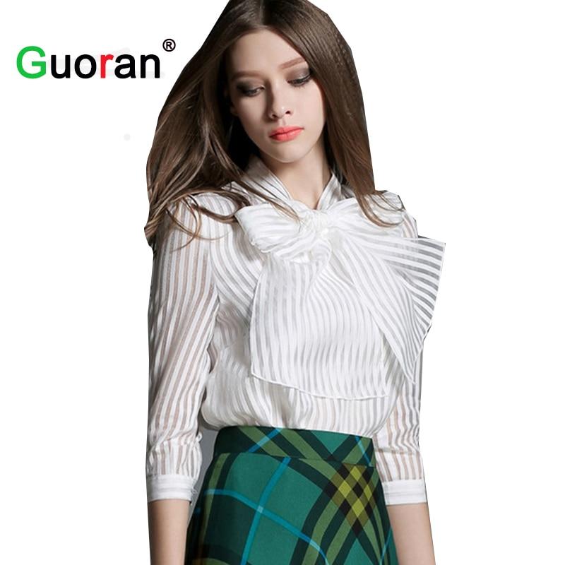 {Guoran } Women Blouses Bow Collar xxl Ladies Chiffon Shirts White Shirts Female Office Work Tops Formal Ladies Clothing blusa