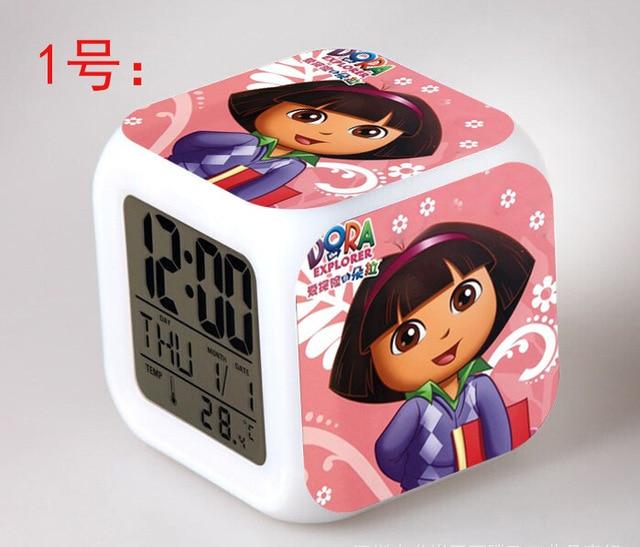 Dora The Explorer LED 7 Color Flash Digital Alarm Clocks Kids Night Light Bedroom  Clock Reloj